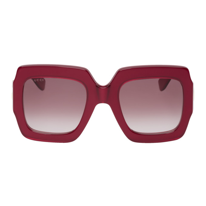 2b3f69637 Gucci Red Oversized Pop Web Square Sunglasses 191451F00502201