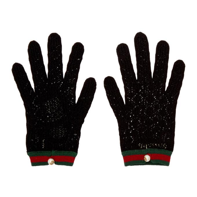 Gucci Black Crochet Gloves