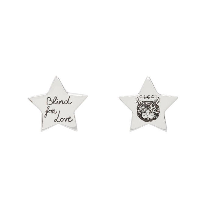 6afb83125 Gucci Silver Star Blind For Love Stud Earrings