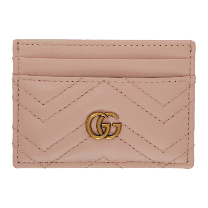 959ccf11664a Gucci Gg Marmont 2.0 Leather Card Holder, Pink In 5909 Pink ...