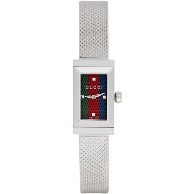 Gucci Silver G Frame Slim Watch