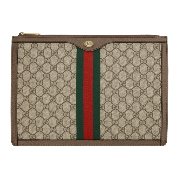 Gucci 棕色 GG Supreme Ophidia 文件袋