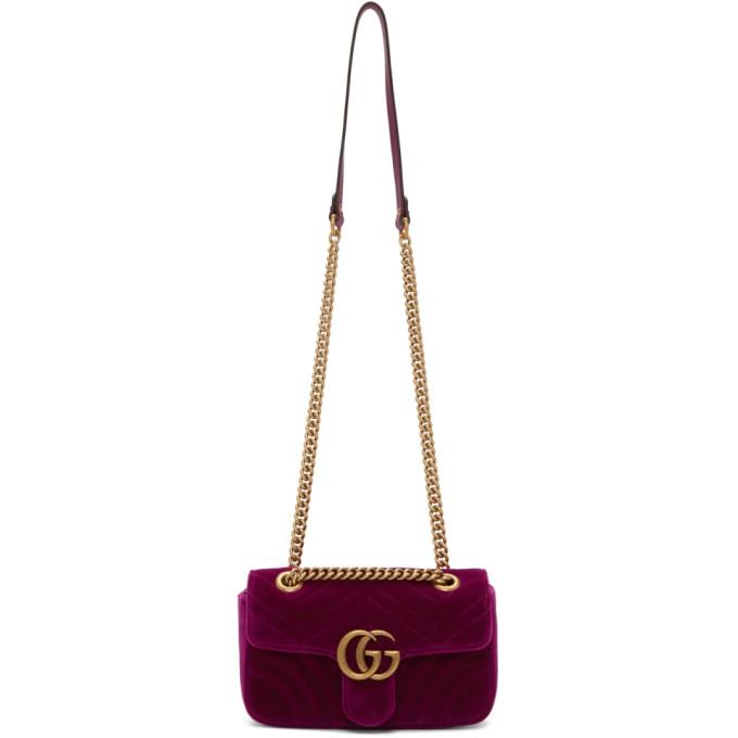 Small Gg Marmont 2.0 Matelasse Velvet Shoulder Bag - Purple in 5671 Purple