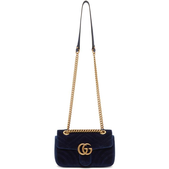 Medium Gg Marmont 2.0 Matelasse Velvet Shoulder Bag - Blue in 4511 Blue