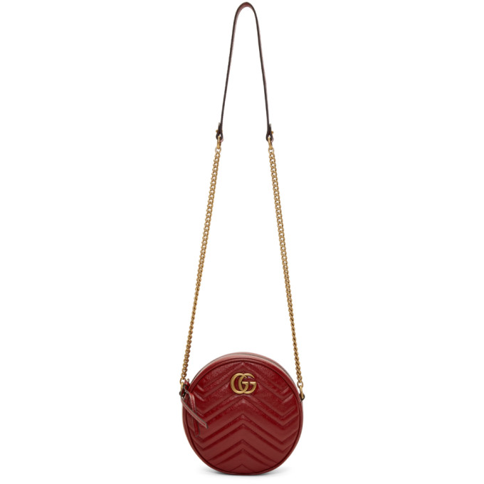 41e08af6bba158 Gucci Red Mini GG Marmont 20 Round Bag