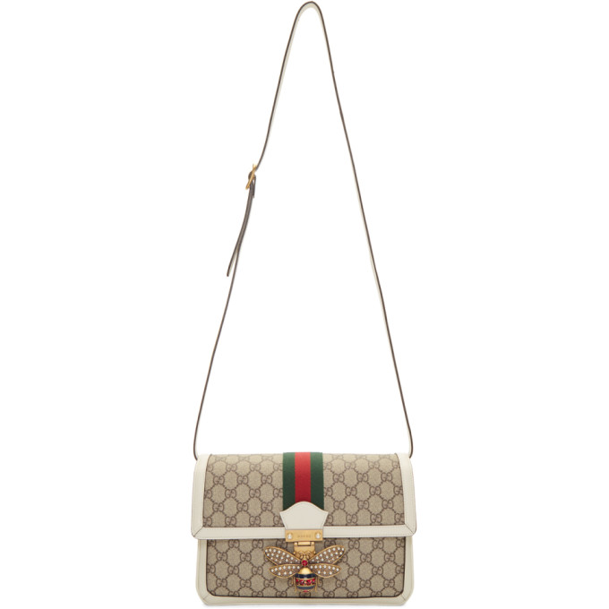 Gucci Beige and White GG Queen Margaret Bag