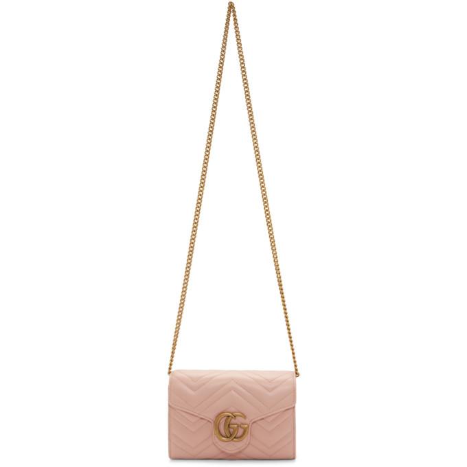 GUCCI   Gucci Pink Mini GG Marmont Shoulder Bag   Goxip