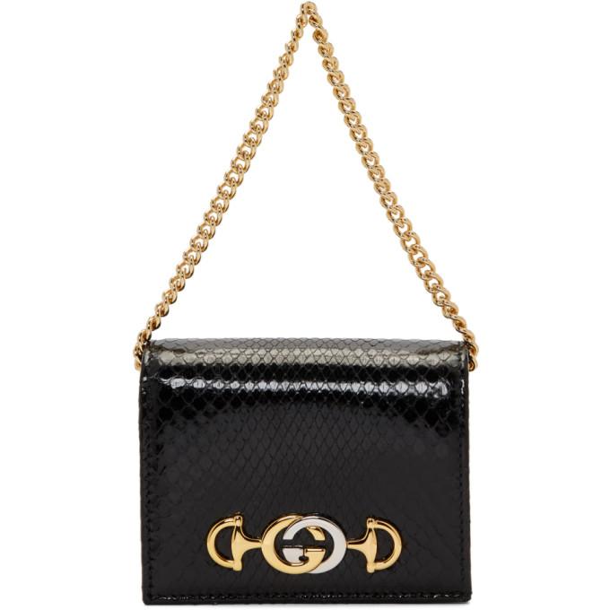 GUCCI   Gucci Black Python Linea Wallet Bag   Goxip