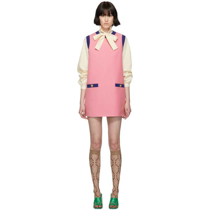 Image of Gucci Pink & Blue Bicolor Mini Dress