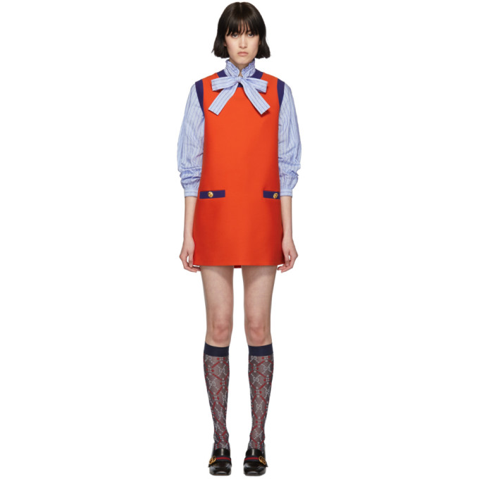 Image of Gucci Red & Blue Bicolor Mini Dress