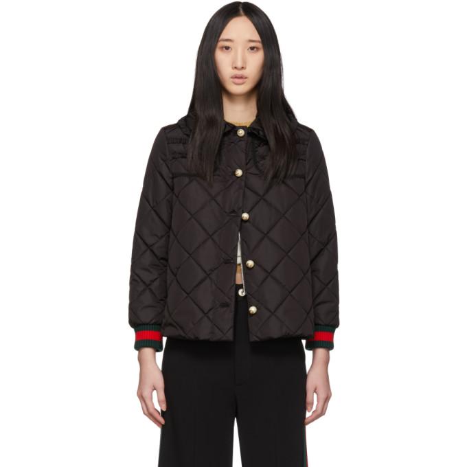 GUCCI | Gucci Black Ruffled Pearl Jacket | Goxip