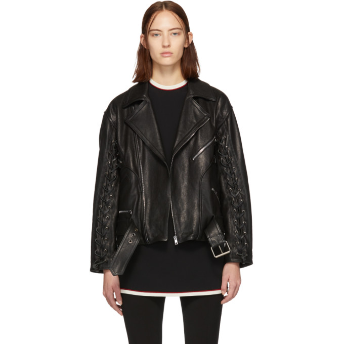 Gucci Black Leather Mushroom Jacket