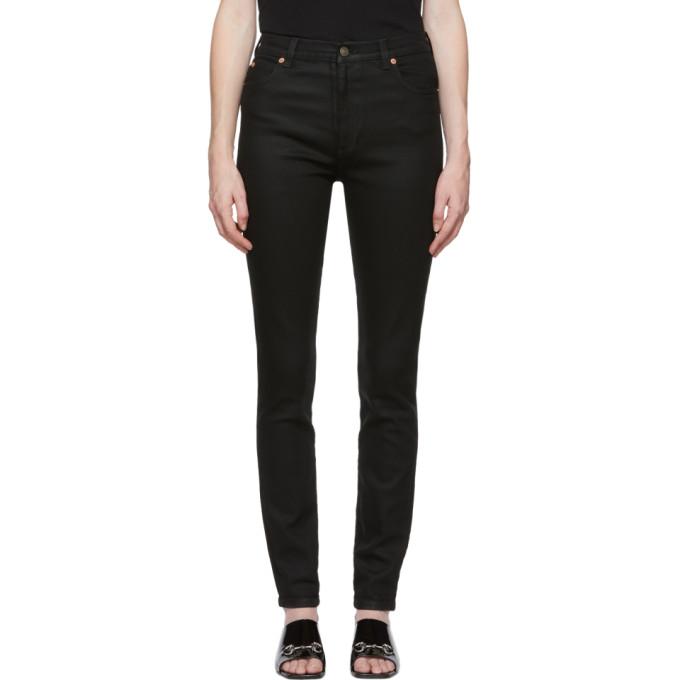 Gucci Black Coated Skinny Jeans