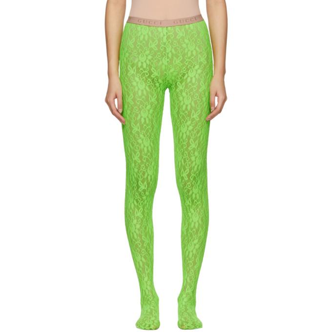 Gucci Collant en dentelle vert