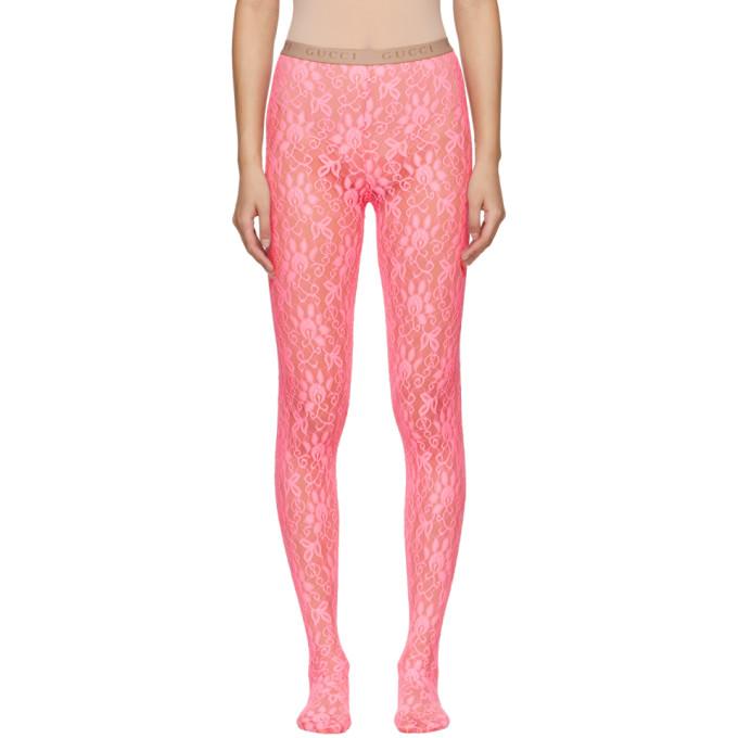 Gucci Collant en dentelle rose