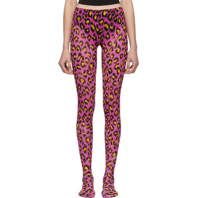 Gucci Collant a motif leopard rose et jaune