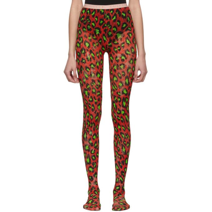 Gucci Collant a motif leopard rouge et vert