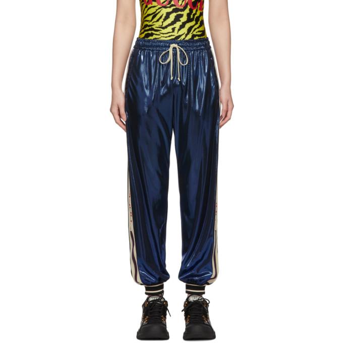 GUCCI   Gucci Blue Laminated Lounge Pants   Goxip