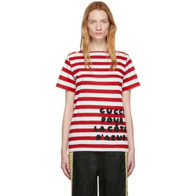 70e99b98e GUCCI | Gucci Red Striped Gucci Pour La Cote DAzur T-Shirt | Goxip