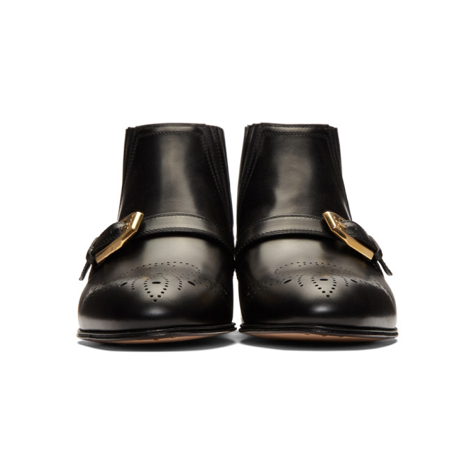 3a30aad9eae8 Gucci Women s Leather Ankle Boot With G Brogue In Black