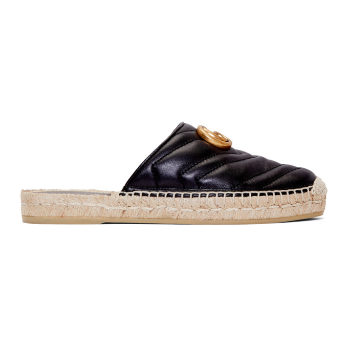 Gucci Black Leather GG Espadrilles