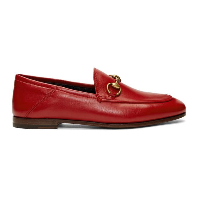 Gucci Red Leather Horsebit Loafers