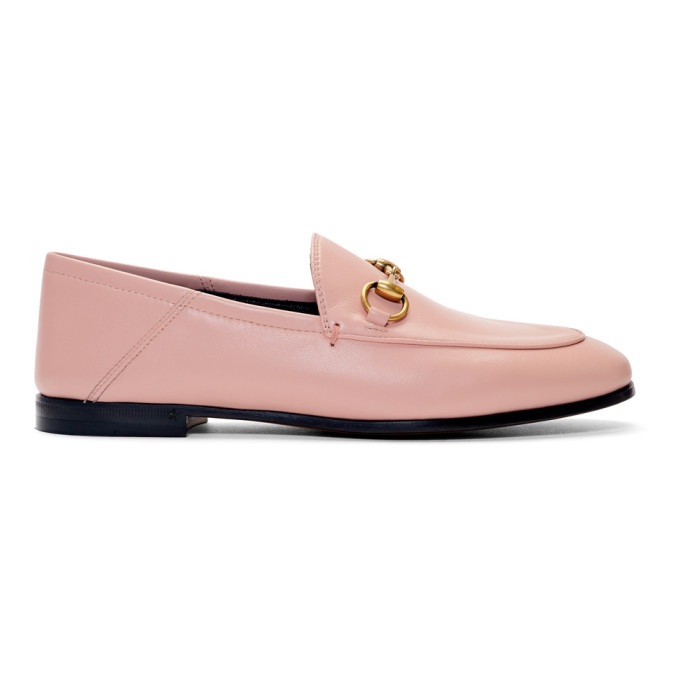 Gucci Brixton Horsebit-Detailed Leather Collapsible-Heel Loafers In 5909 Pink