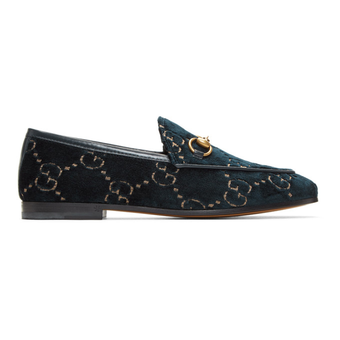 Gucci Blue Velvet GG New Jordaan Loafers