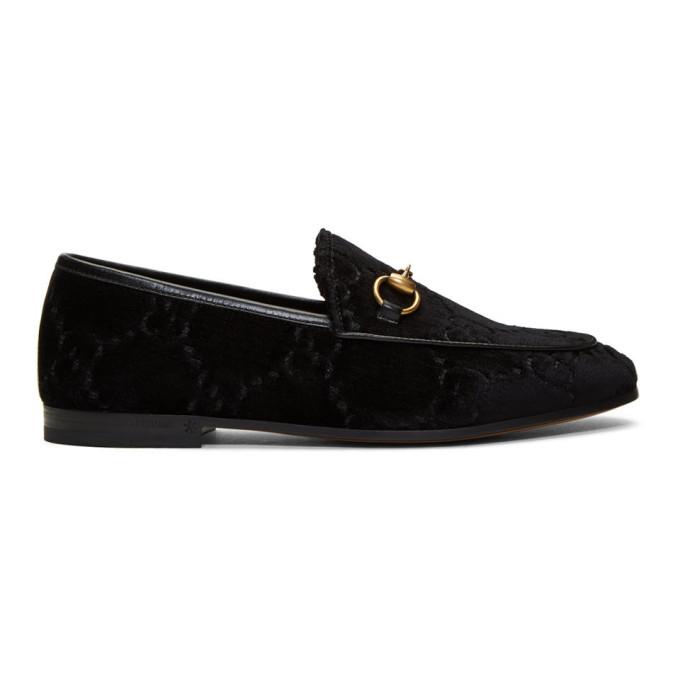 Gucci Black Velvet Jordaan Loafers