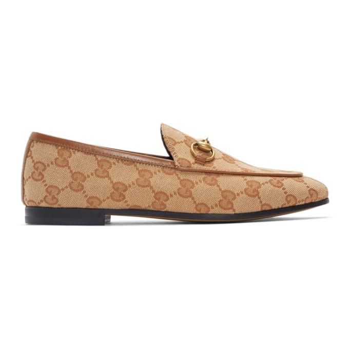 Gucci Beige GG Jordaan Loafers