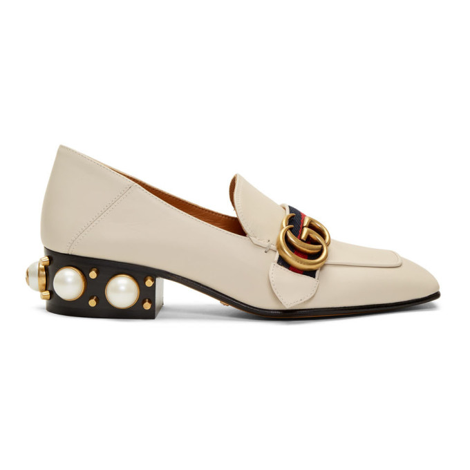 Gucci Off-White Leather Heeled Loafers