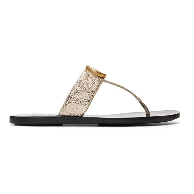 Gucci Marmont Logo-Embellished Metallic Textured-Leather Sandals In 7100 Platin