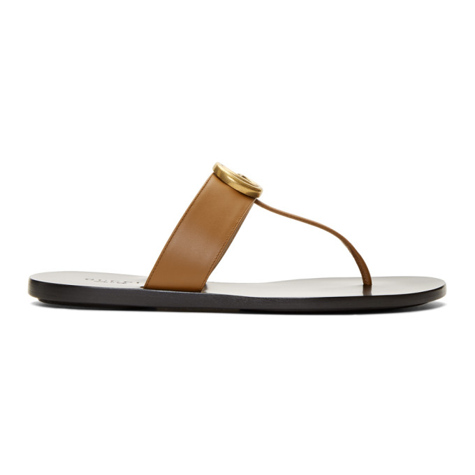 Gucci Brown Leather GG Thong Sandals