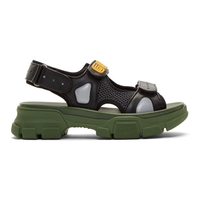 Gucci Black and Green Aguru Chunky Sandals