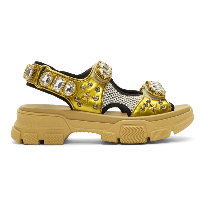 Gucci Gold and Beige Crystal Aguru Chunky Sandals