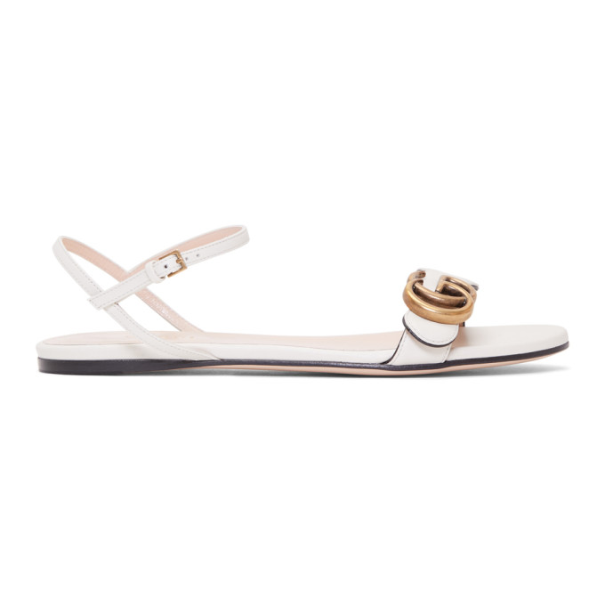 Buy Gucci Off-White Leather GG Sandals online