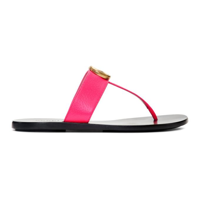 Gucci Pink GG Thong Sandals