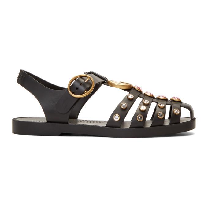 Buy Gucci Black Rubber Crystal Sandals online