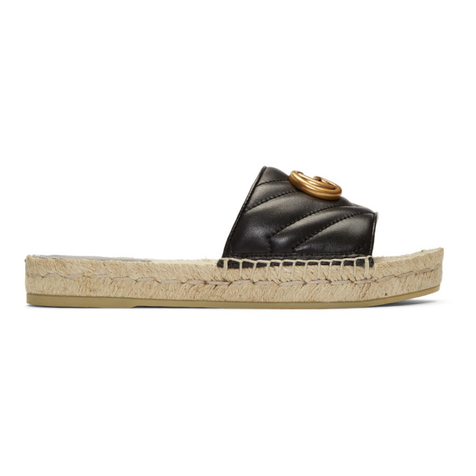 ada9bac53f2 Gucci Logo-Embellished Quilted Leather Espadrille Slides In Black ...