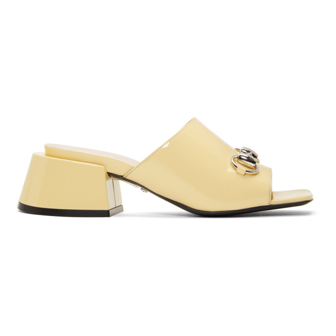 Gucci Yellow Patent Lexi Heel Sandals