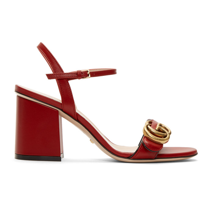Gucci Red Marmont Heeled Sandals