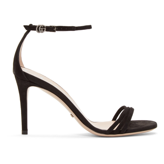 Gucci Black Suede Isle Heeled Sandals