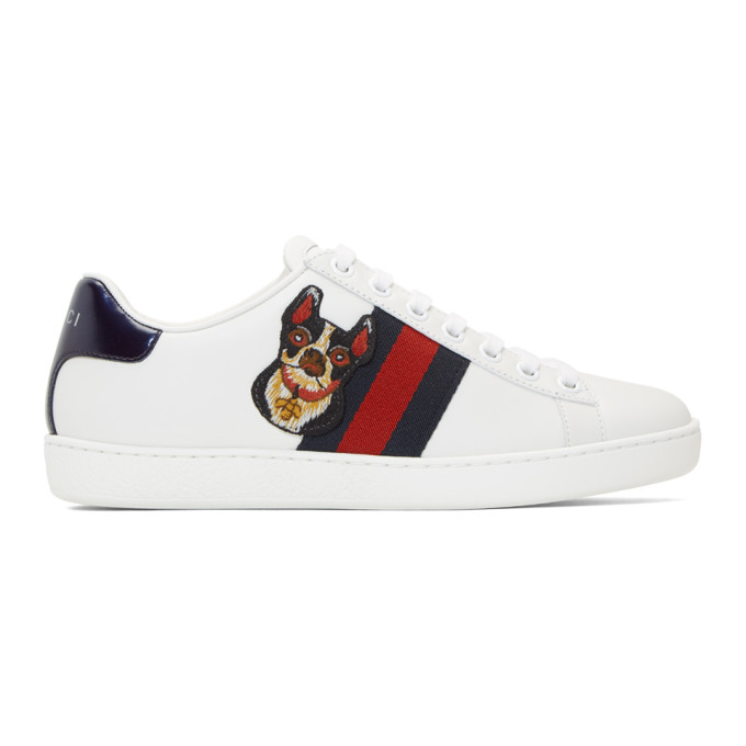 Gucci White Dog New Ace Sneakers