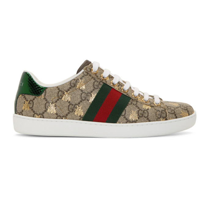 New Ace Logo Sneakers With Bee in 8465 Beige