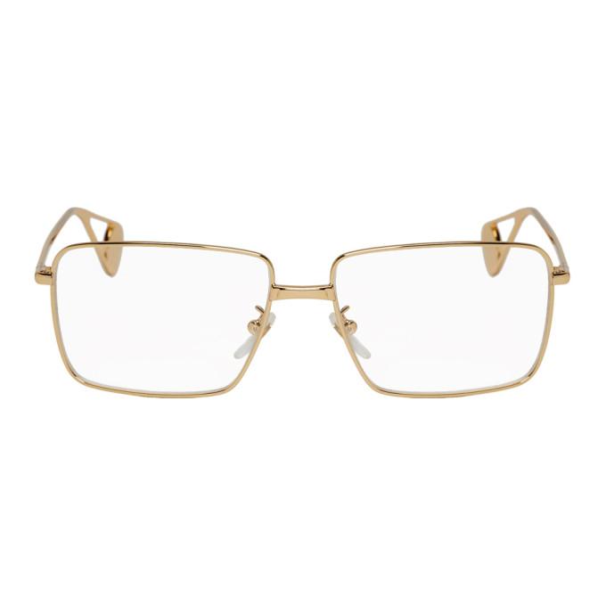 Gucci Gold Rectangular Glasses