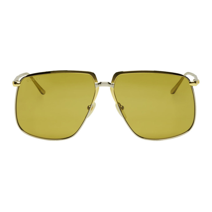 Gucci Gold & Silver Oversized Square Sunglasses