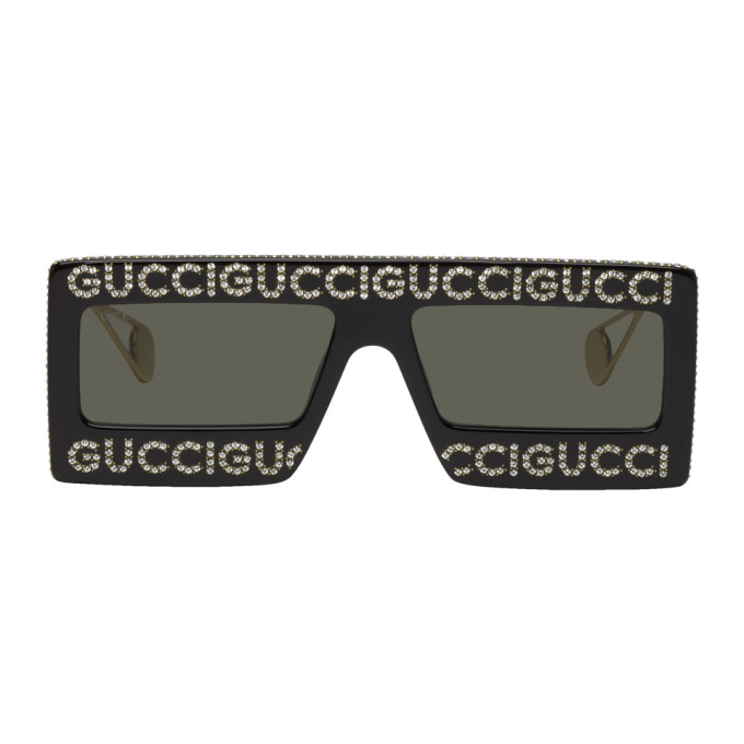 Gucci Black Crystal Mask-Frame Sunglasses