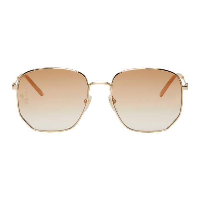 Gucci Gold Rectangular Pilot Sunglasses