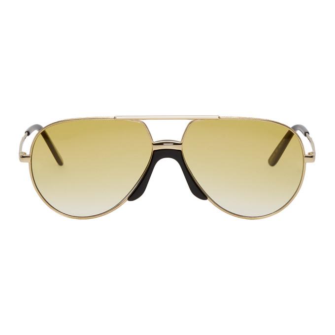 Gucci Gold & Black Pilot Sunglasses