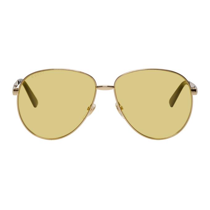 Gucci Gold Vintage Trendy Sunglasses